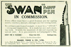 1915 Ad Vintage WWI Swan Fountain Pen Mabie Todd & Co. Writing British Advert