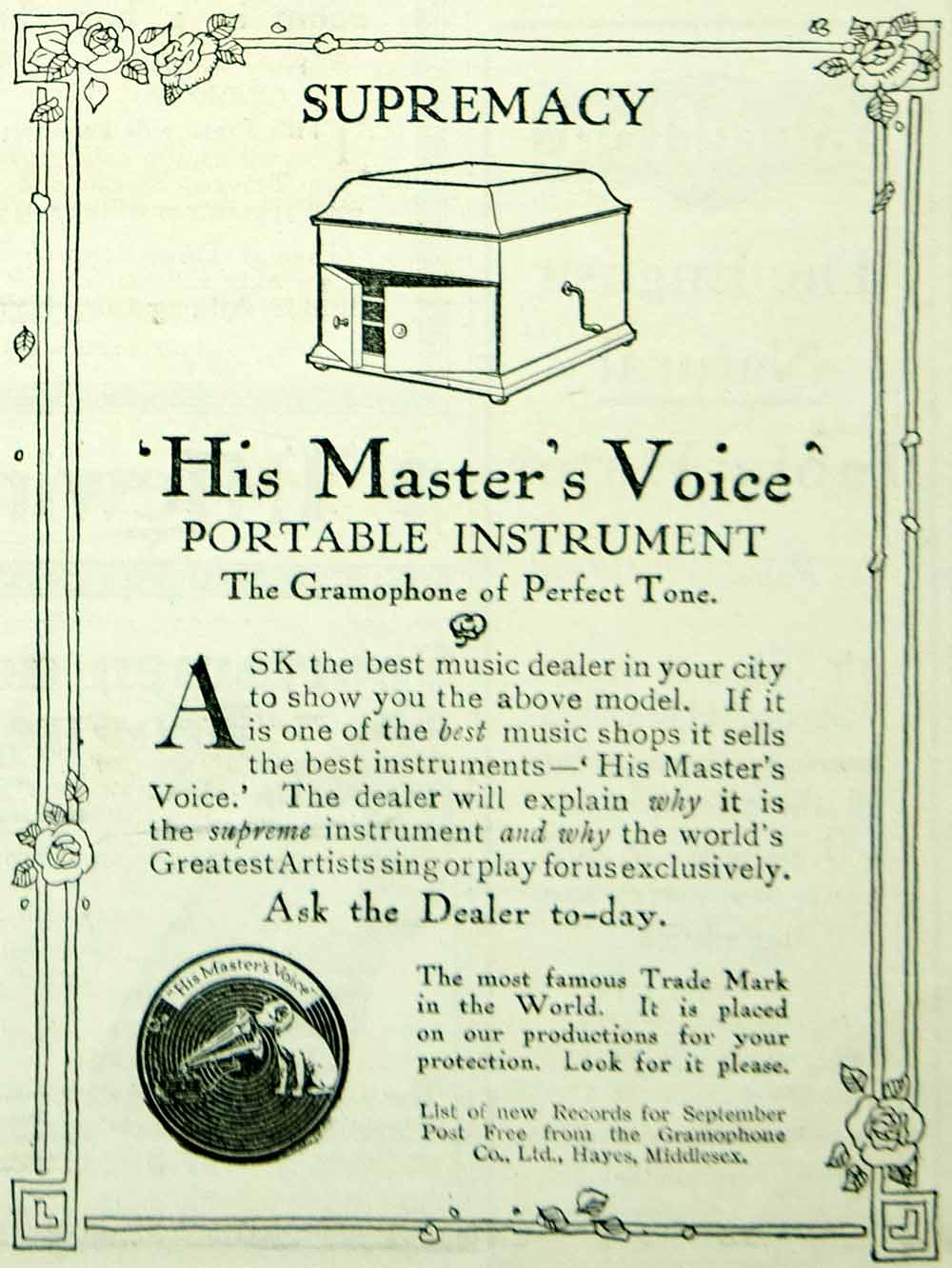 "1915 Ad Vintage ""His Master's Voice"" Portable Phonograph Gramophone Co. Advert"