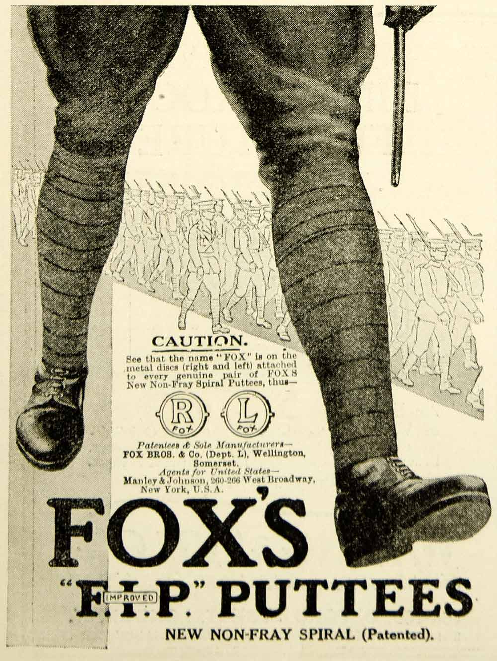 1916 Ad World War I Fox FIP Puttees Leggings British Soldier Uniform WWI Advert