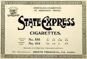 1916 Ad Vintage State Express Cigarettes Ardath Tobacco British Smoking Advert