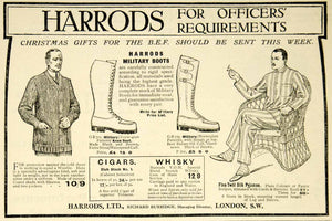 1916 Ad World War I Harrods London Military Boots BEF Woolie Christmas Advert