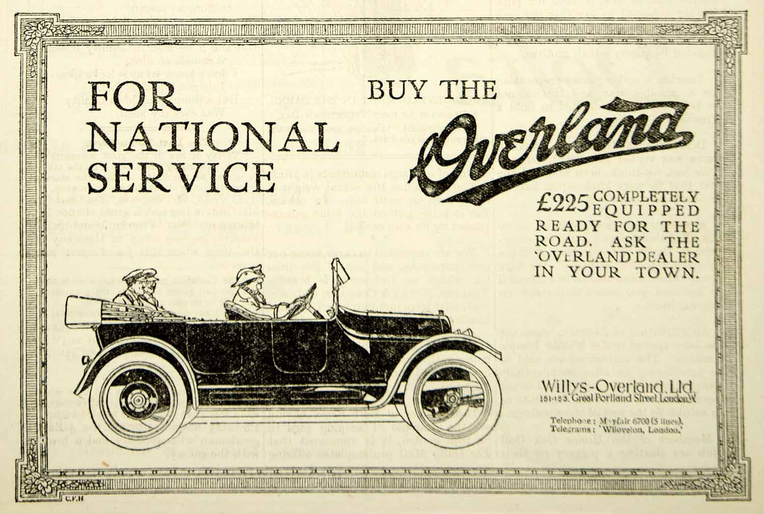 1917 Ad Vintage Overland British Car Automobile Willys-Overland WWI Advert