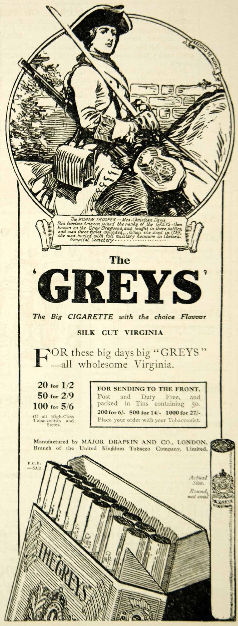 1917 Ad The Greys Cigarettes Mrs. Christian Davis Female Soldier Gun Royal Scots