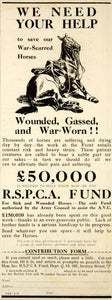 1918 Ad WWI Horses Royal Society for the Prevention of Cruelty to Animals RSPCA