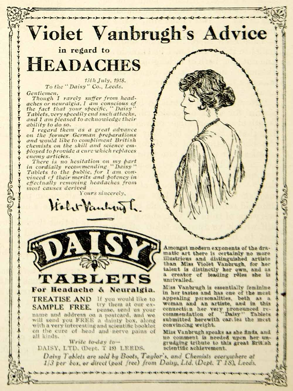 1918 Ad Vintage Daisy Tablets Headache Pill Cure Violet Vanbrugh English Actress