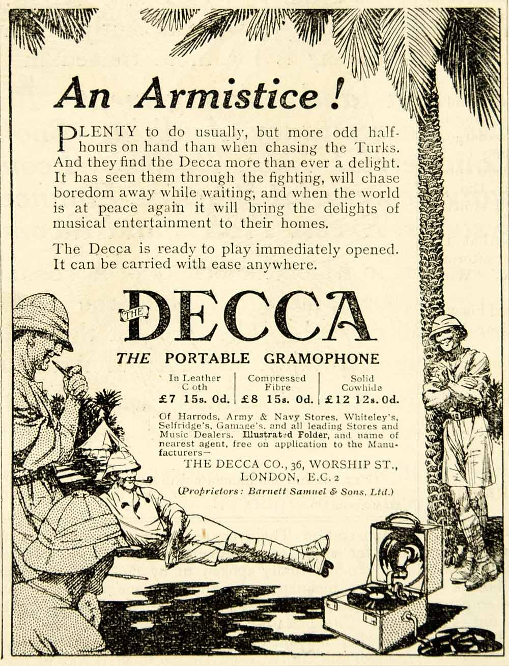 1918 Ad World War I Decca Portable Gramophone Phonograph British Soldiers Advert