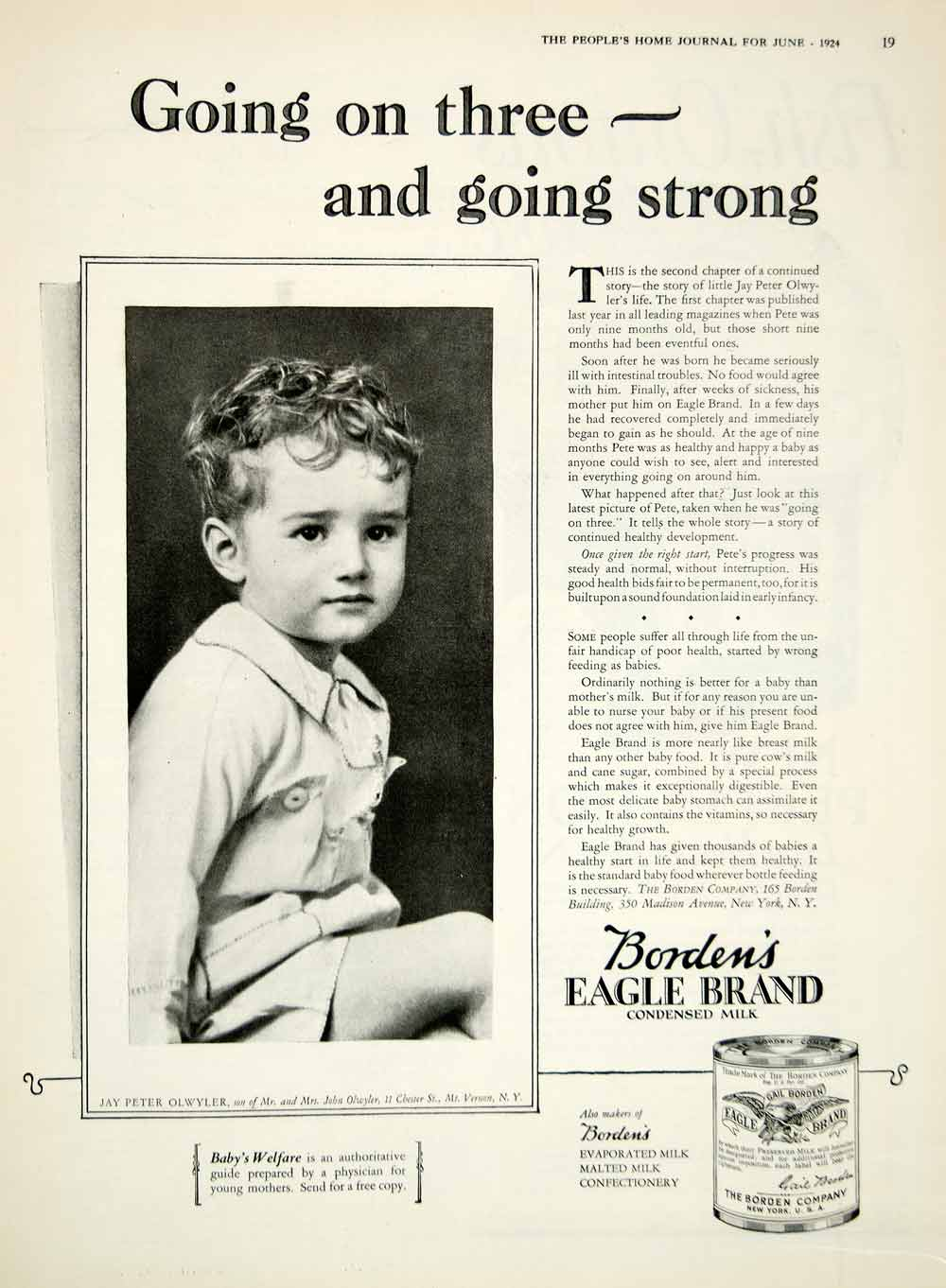 1924 Ad Bordens Eagle Brand Condensed Milk Jay Peter Olwyler Child Dairy YPHJ1