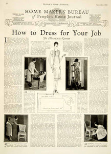 1926 Article Peoples Home Journal How To Dress Job Marjorie Kinney Art YPHJ1