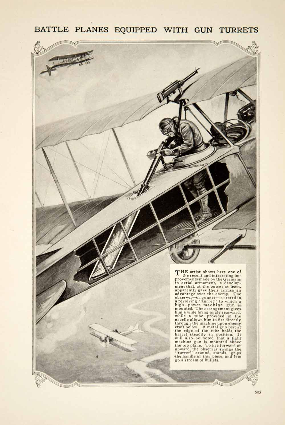 1916 Print World War I Aerial Firepower Gun Turret Aircraft Wartime Image YPM1
