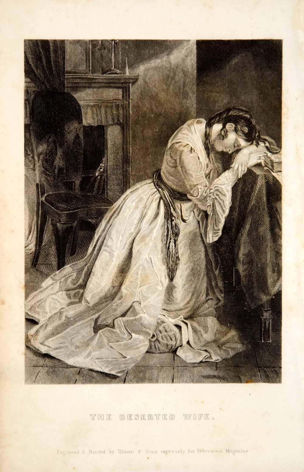 1856 Steel Engraving Deserted Wife Sad Victorian Woman Grief Dress Costume YPM2