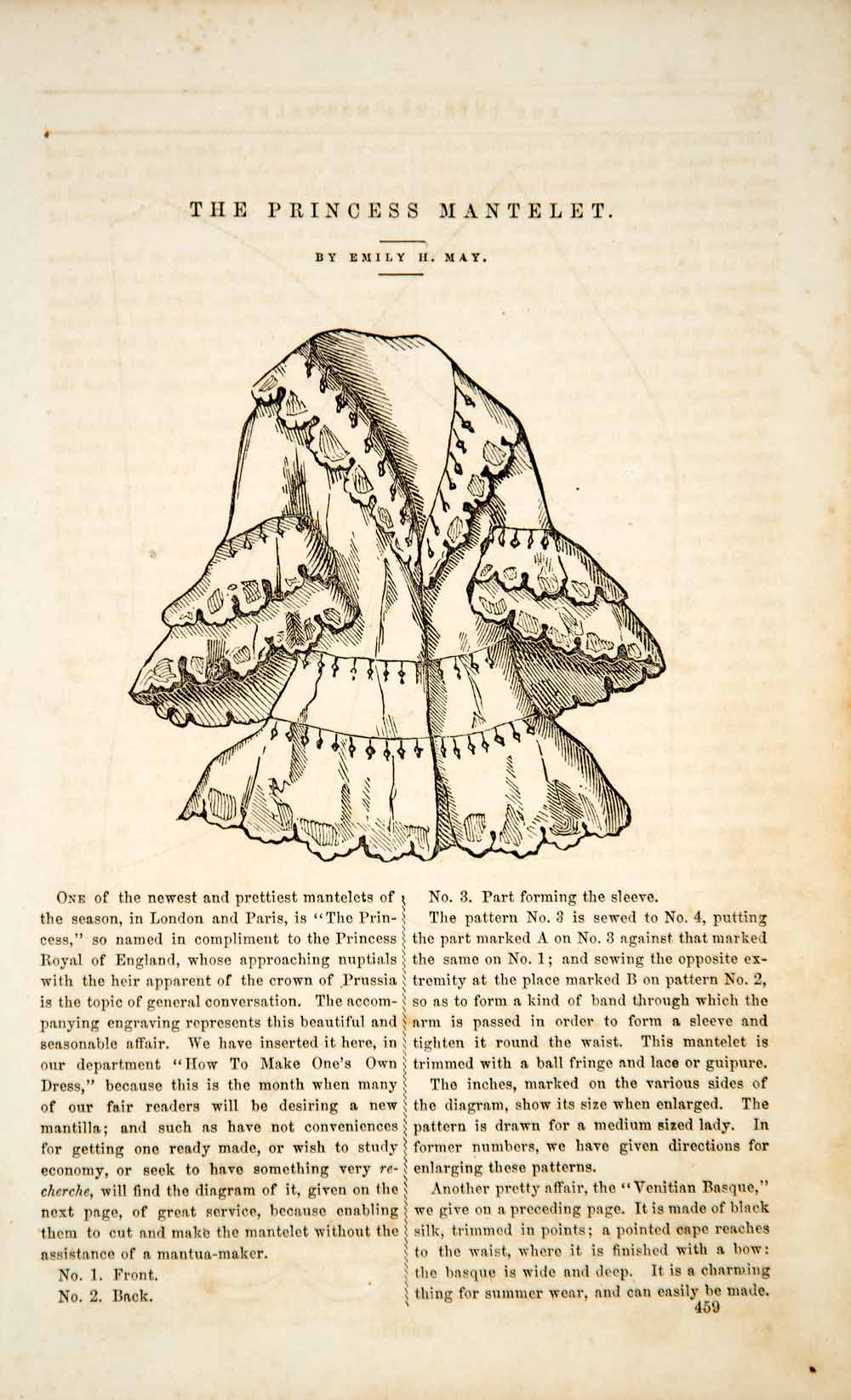 1856 Article Princess Mantelet Victorian Cape Fashion Pattern Instructions YPM2