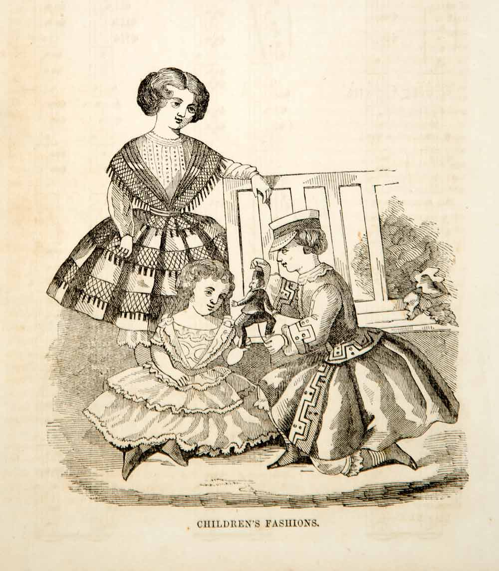 1856 Wood Engraving Antique Victorian Fashion Children Dress Boy Girl Toy YPM2