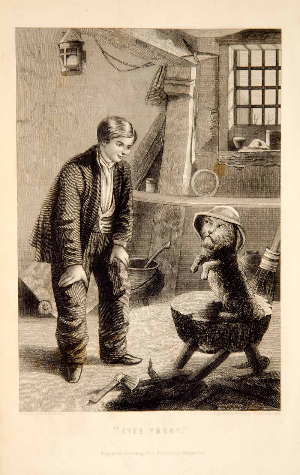 1870 Steel Engraving Victorian Boy Dog Pet Tricks Henry Benjamin Roberts YPM3
