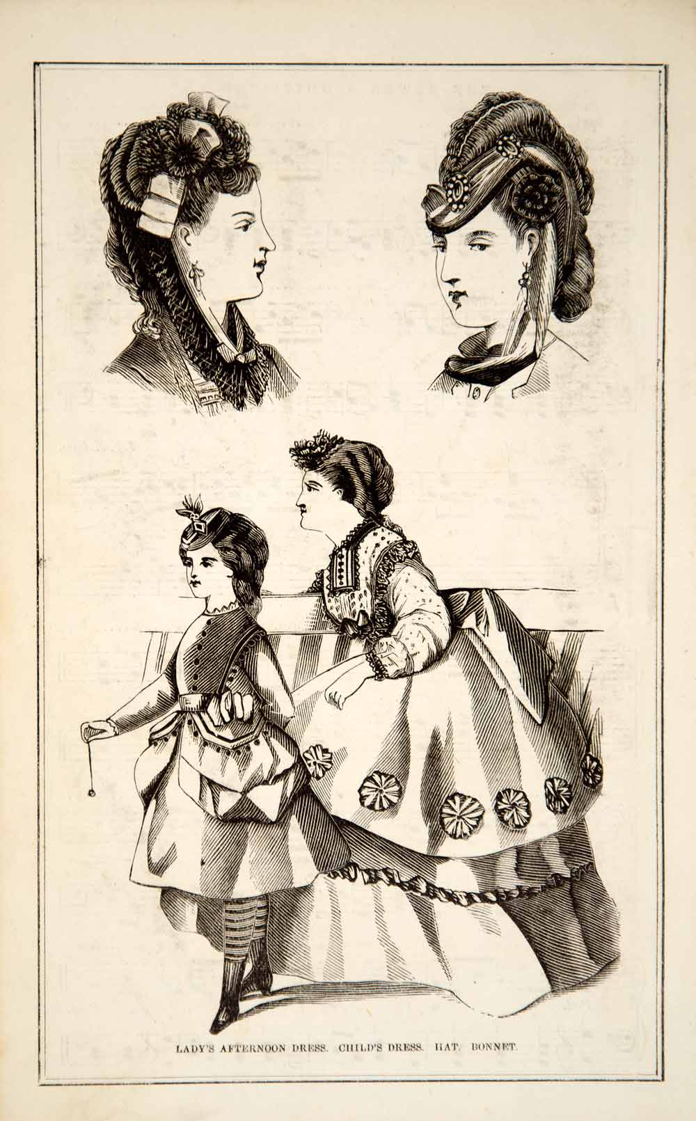 1870 Wood Engraving Victorian Lady Girl Dress Costume Hat Bonnet Fashion YPM3