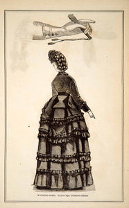1870 Wood Engraving Victorian Lady Walking Dress Fashion Glove Evening Gown YPM3