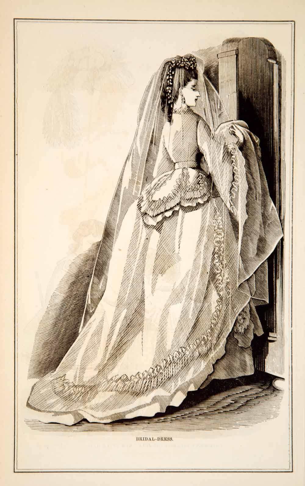 1870 Wood Engraving Victorian Bride Lady Bridal Wedding Dress Veil Train YPM3