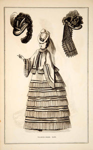 1870 Wood Engraving Victorian Lady Walking Dress Hats Plumes Fashion Style YPM3