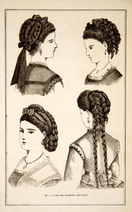 1870 Wood Engravings Victorian Lady Hair Fashion Hairstyles Coiffures Braid YPM3