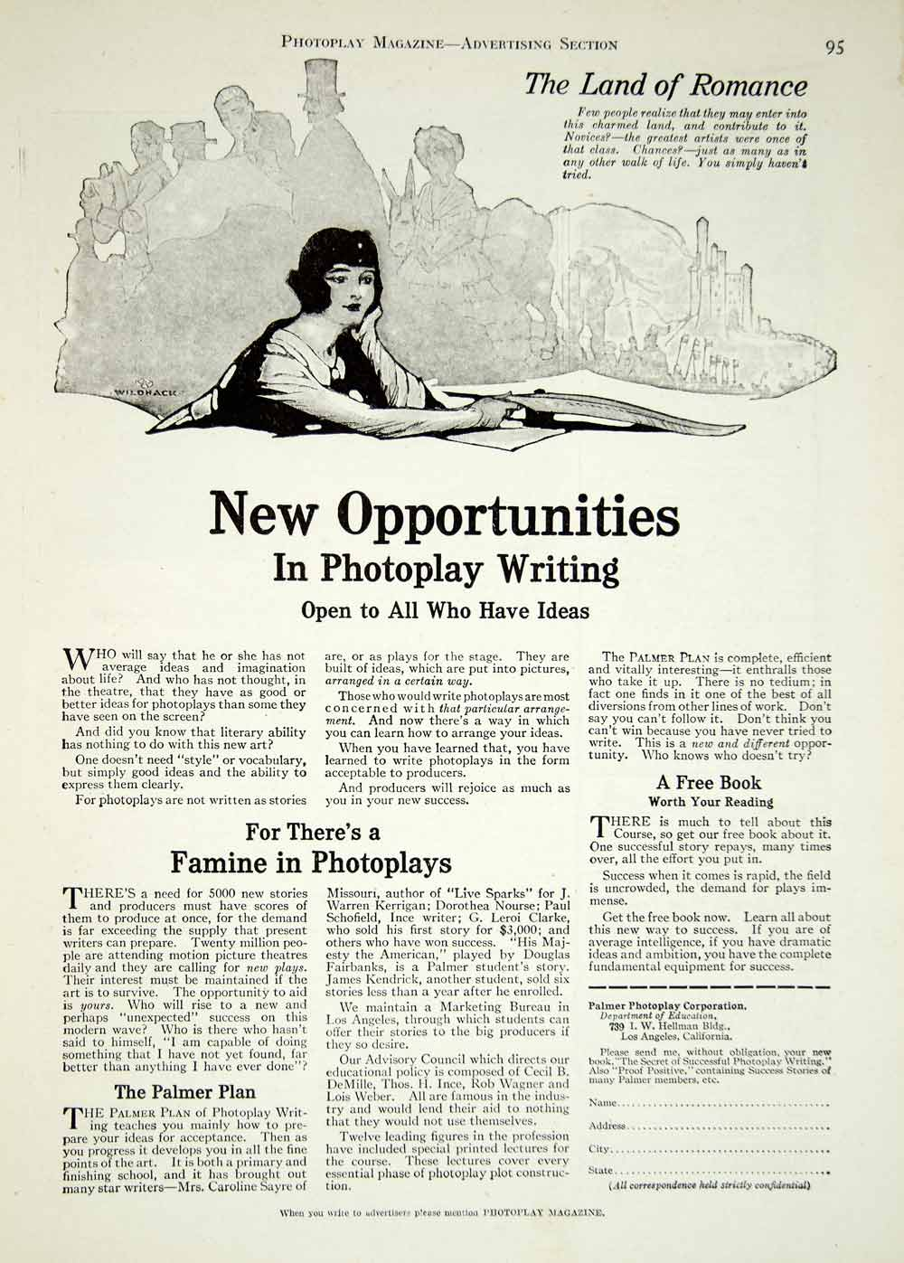 1920 Ad Silent Film Screenwriting Screenwriter Palmer Photoplay Motion YPP1