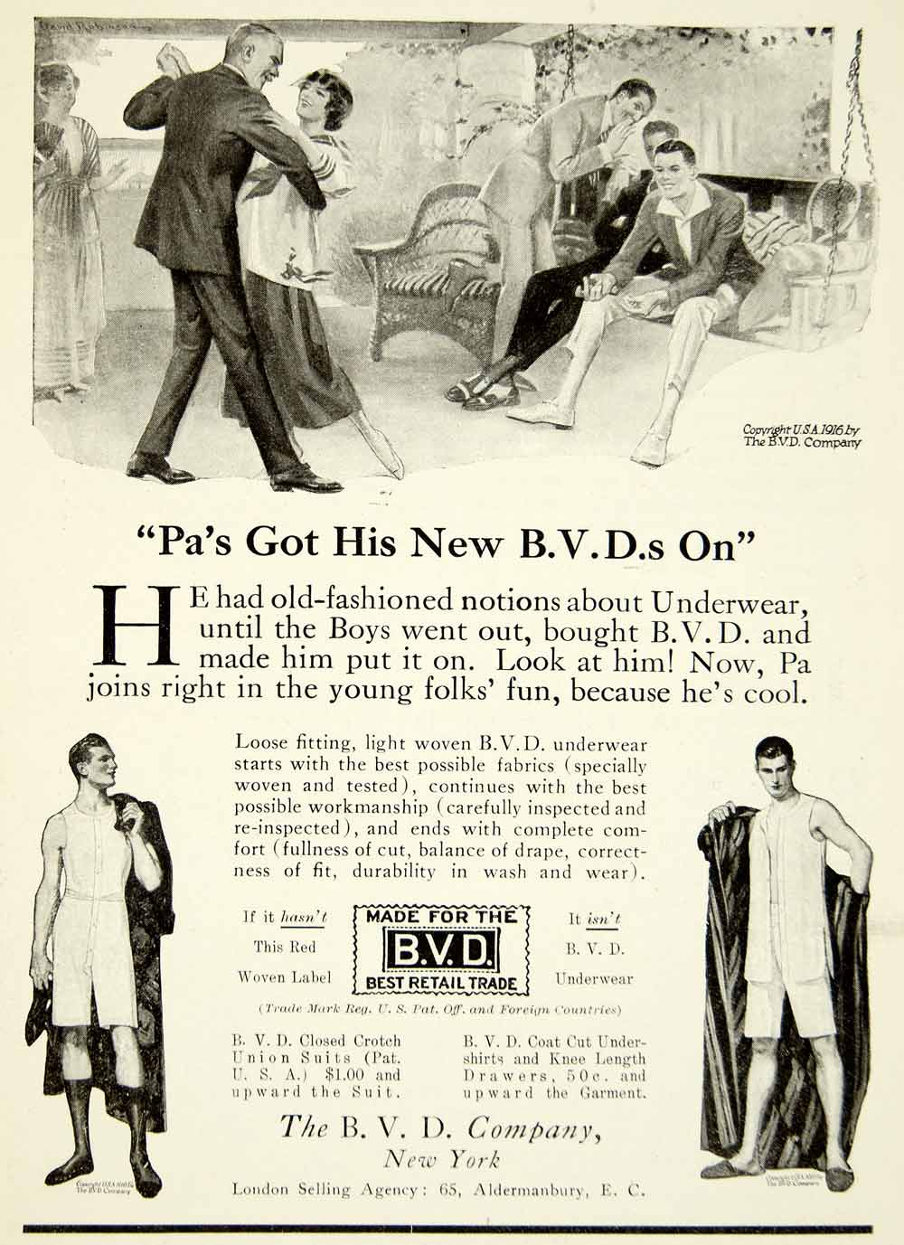 1916 Ad Vintage BVD Underwear Dancing Porch Swing Bradley Voorhees Day YPP1