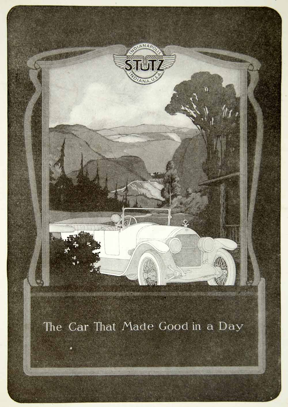 1920 Ad Vintage Harry C Stutz Luxury Car Automobile Indianapolis Indiana YPP1