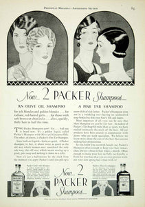 1927 Ad Packer Shampoo Art Deco George O'Neill Pine Tar Olive Oil Coconut YPP3