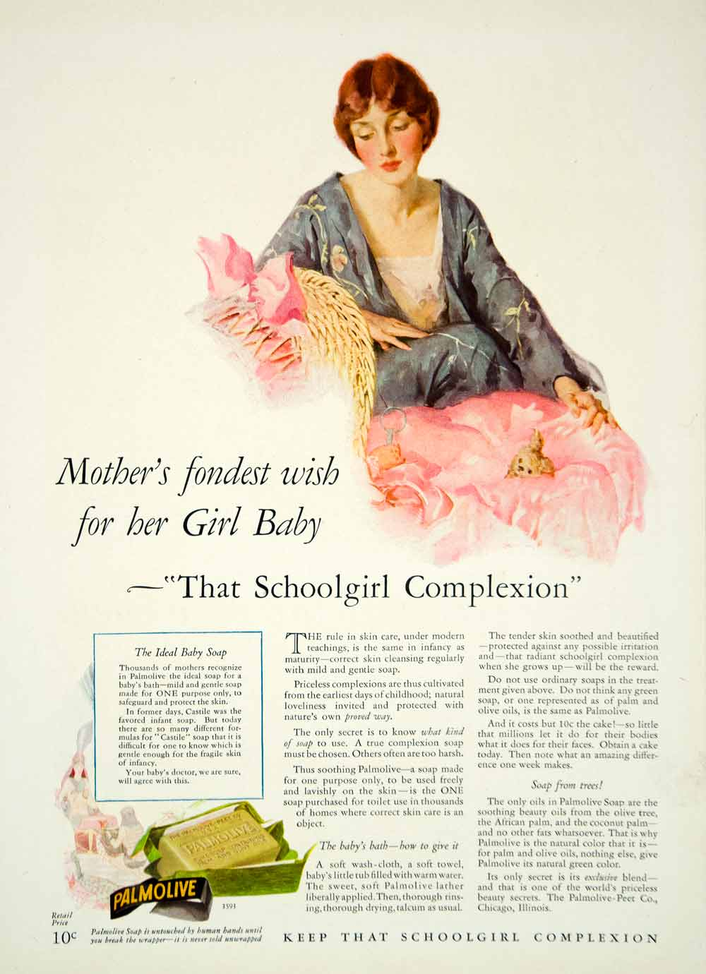 1927 Ad Vintage Palmolive Soap Baby Girl Mother Pink Bassinet Complexion YPP3