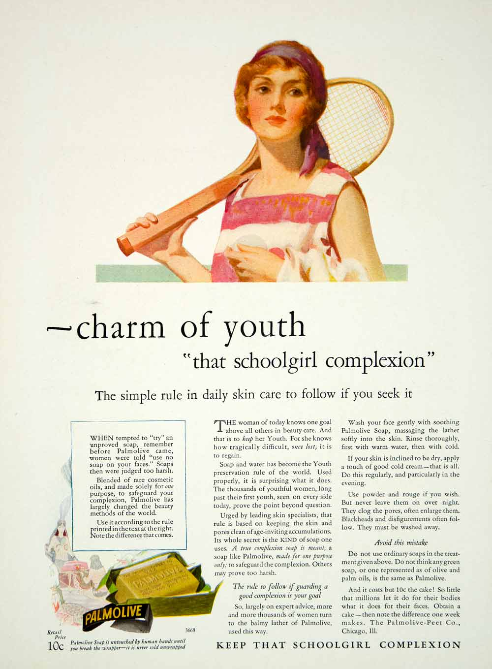 1927 Ad Vintage Palmolive Soap Woman Tennis Player Racket Complexion Skin YPP3