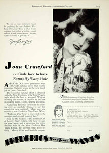 1929 Ad Vintage Frederics Vita Tonic Permanent Wave Hair Care Joan Crawford YPP3