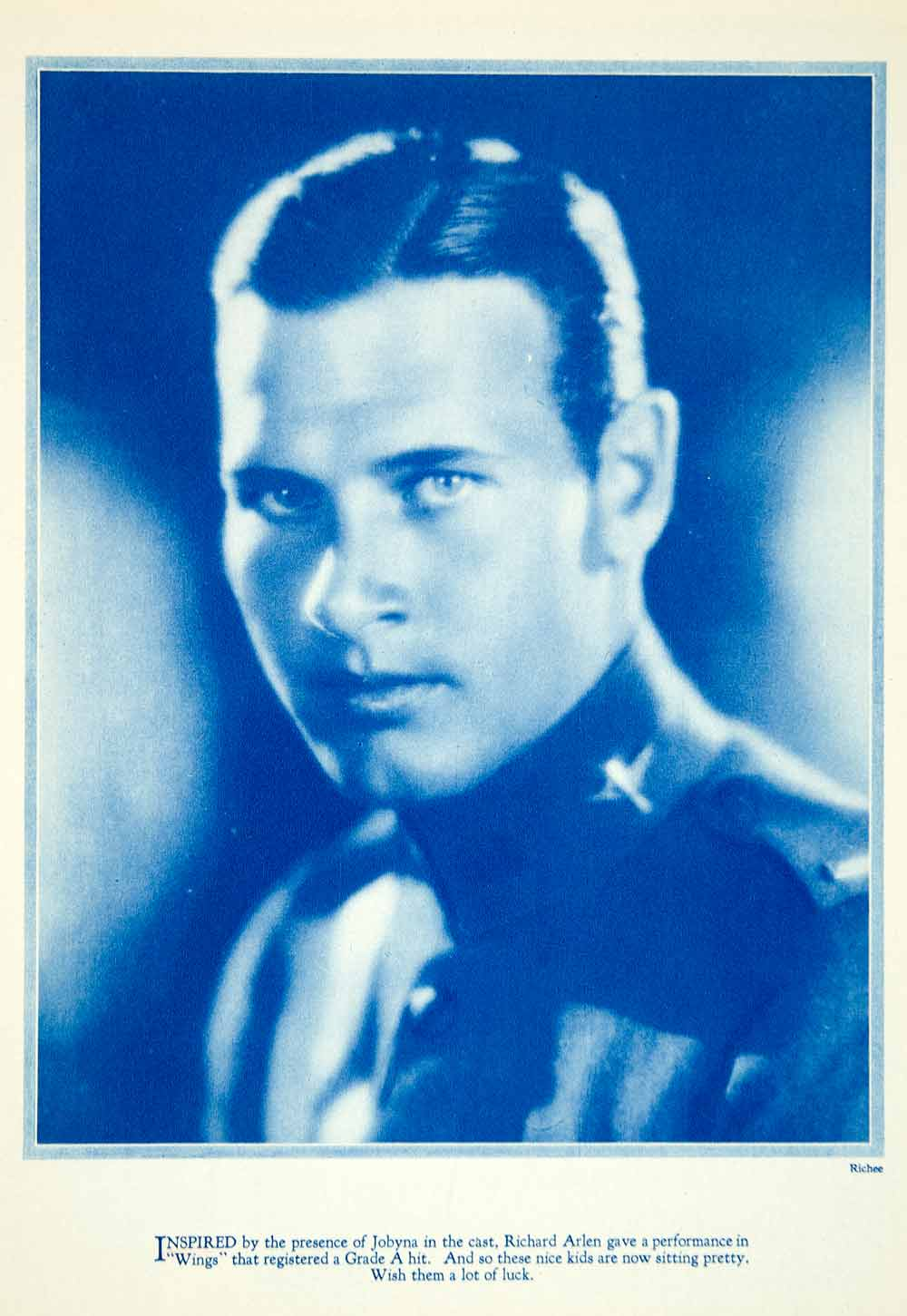 1927 Rotogravure Richard Arlen Portrait Silent Film Actor Wings Movies YPP3