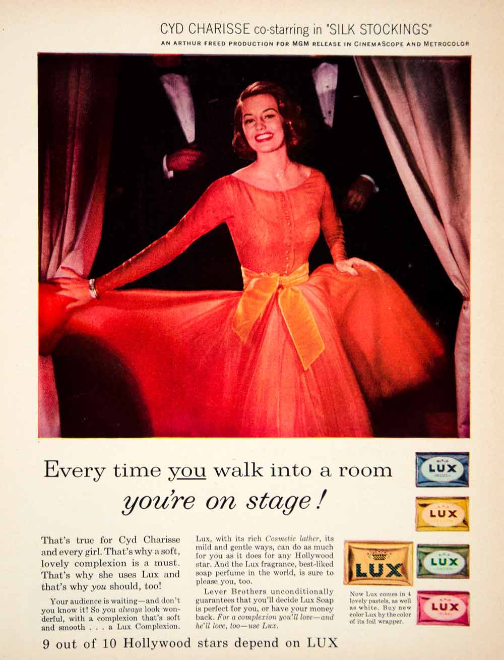 1957 Ad Vintage Lux Soap Cyd Charisse Hollywood Star Actress Beauty Skin YPP4