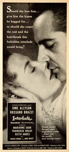 1957 Ad Interlude Movie Cinema Actors Love Romance June Allyson Rossano YPP4