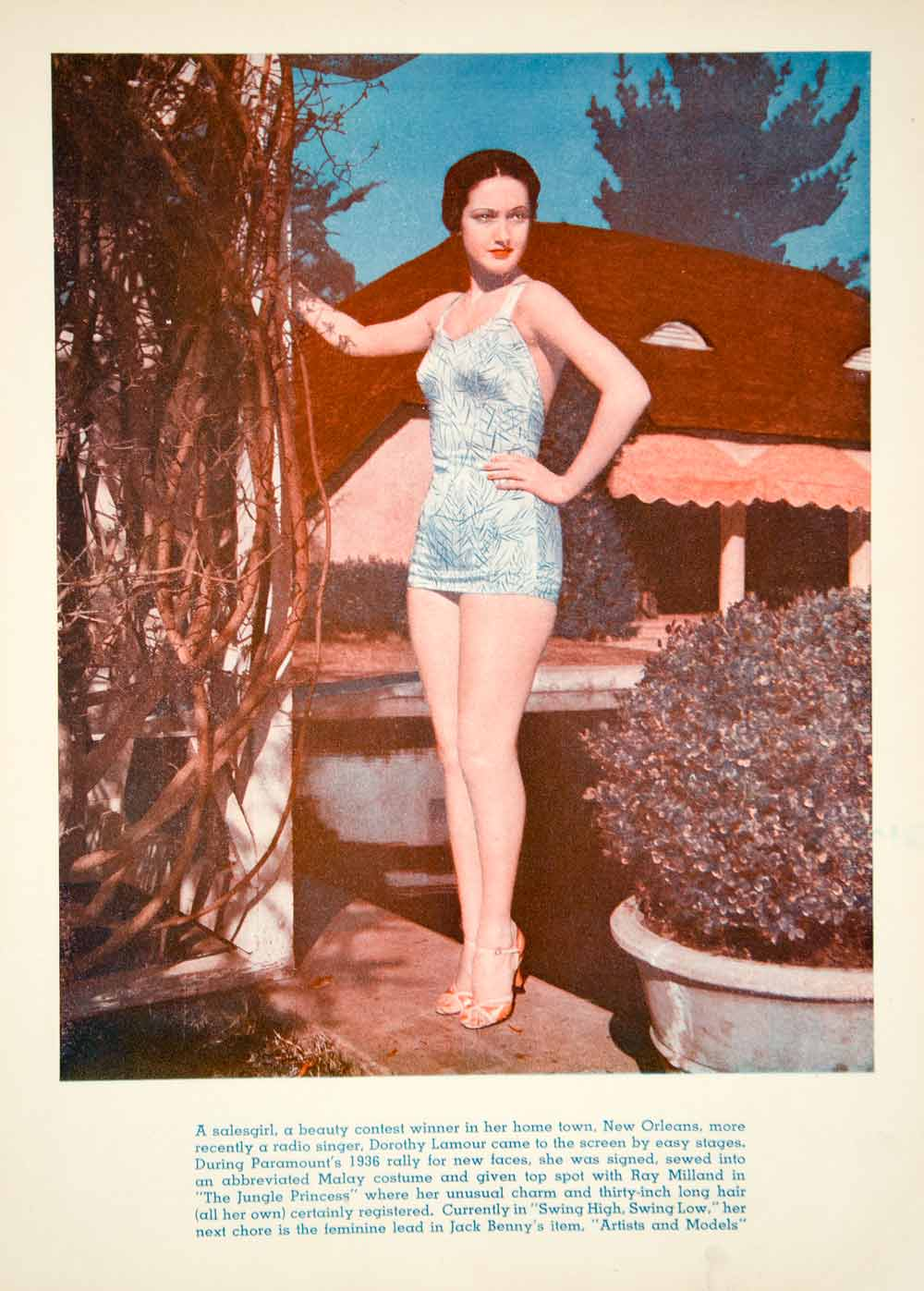 1937 Color Print Dorothy Lamour Movie Actress Film Movie Hollywood Star YPP4