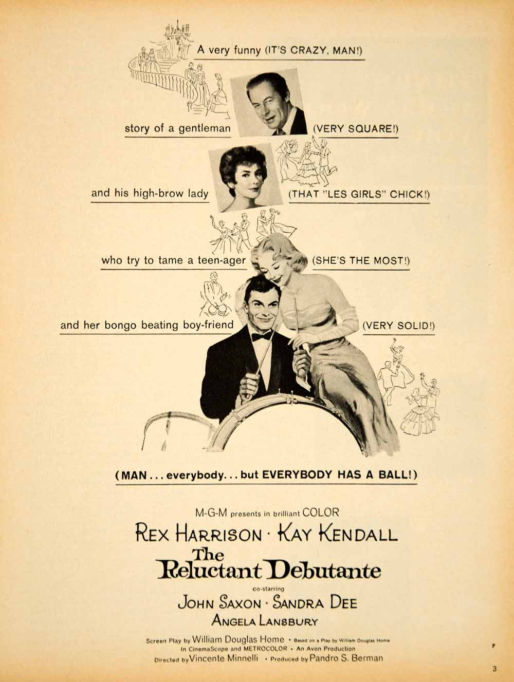 1958 Ad Movie Reluctant Debutante Comedy Film Rex Harrison Vincente YPP5