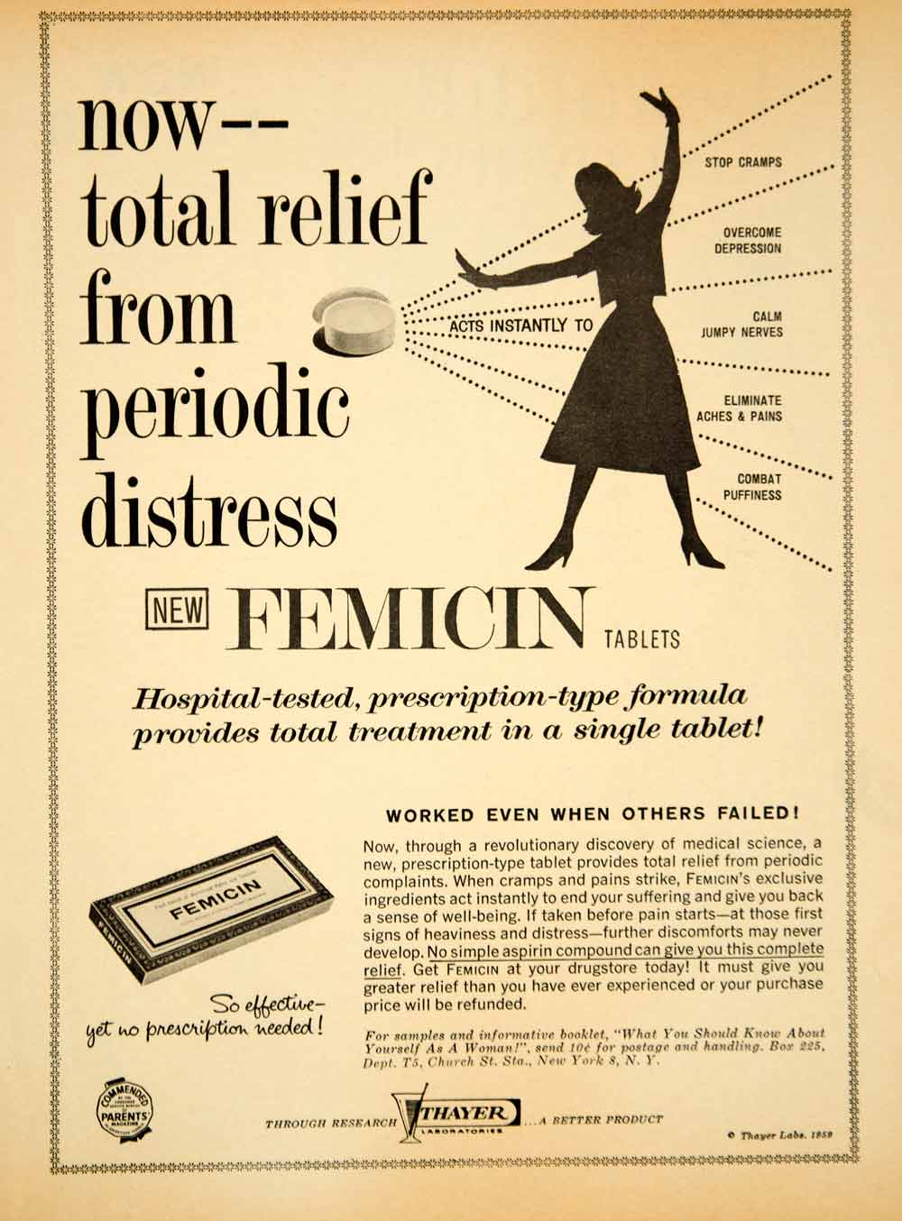 1959 Ad Femicin Tablets Pill Women Depression Cramps Pain Remedy OTC Thayer YPP5