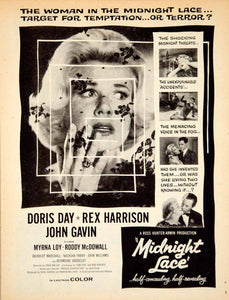 1960 Ad Movie Midnight Lace Doris Day Rex Harrison Mystery Thriller YPP5
