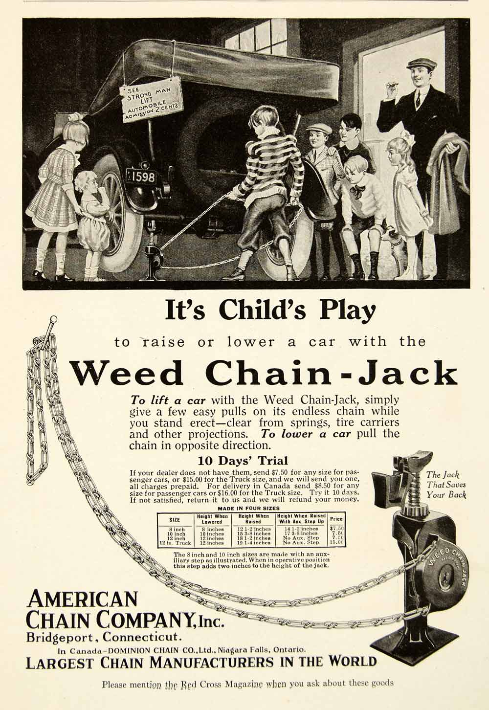 1918 Ad Weed Chain Jack Bridgeport Connecticut Children Lift Car WWI Auto YRC1