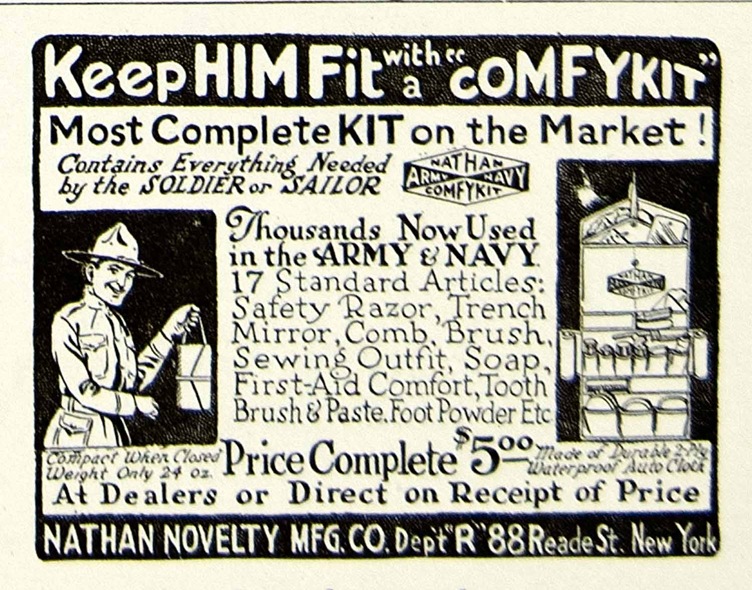1918 Ad ComfyKit Dept R 88 Reade St New York Nathan Novelty WWI Army Navy YRC1