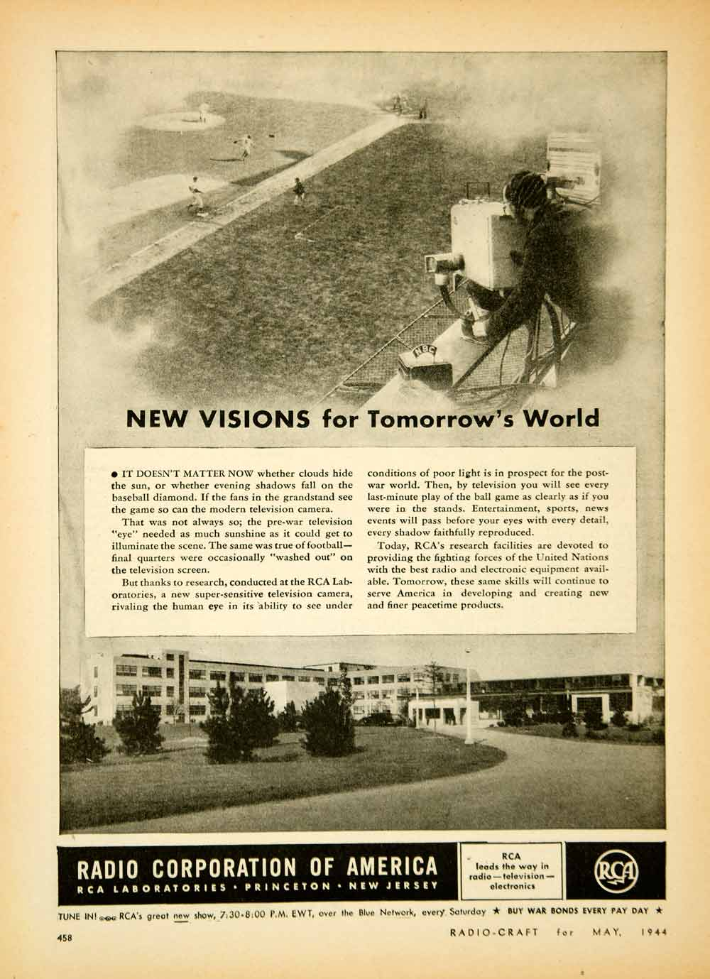 1944 Ad Radio Corporation America Film Baseball RCA Laboratory Princeton YRC2