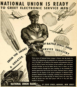 1943 Ad National Union Radio Electronic Service Men Soldier World War II YRC2