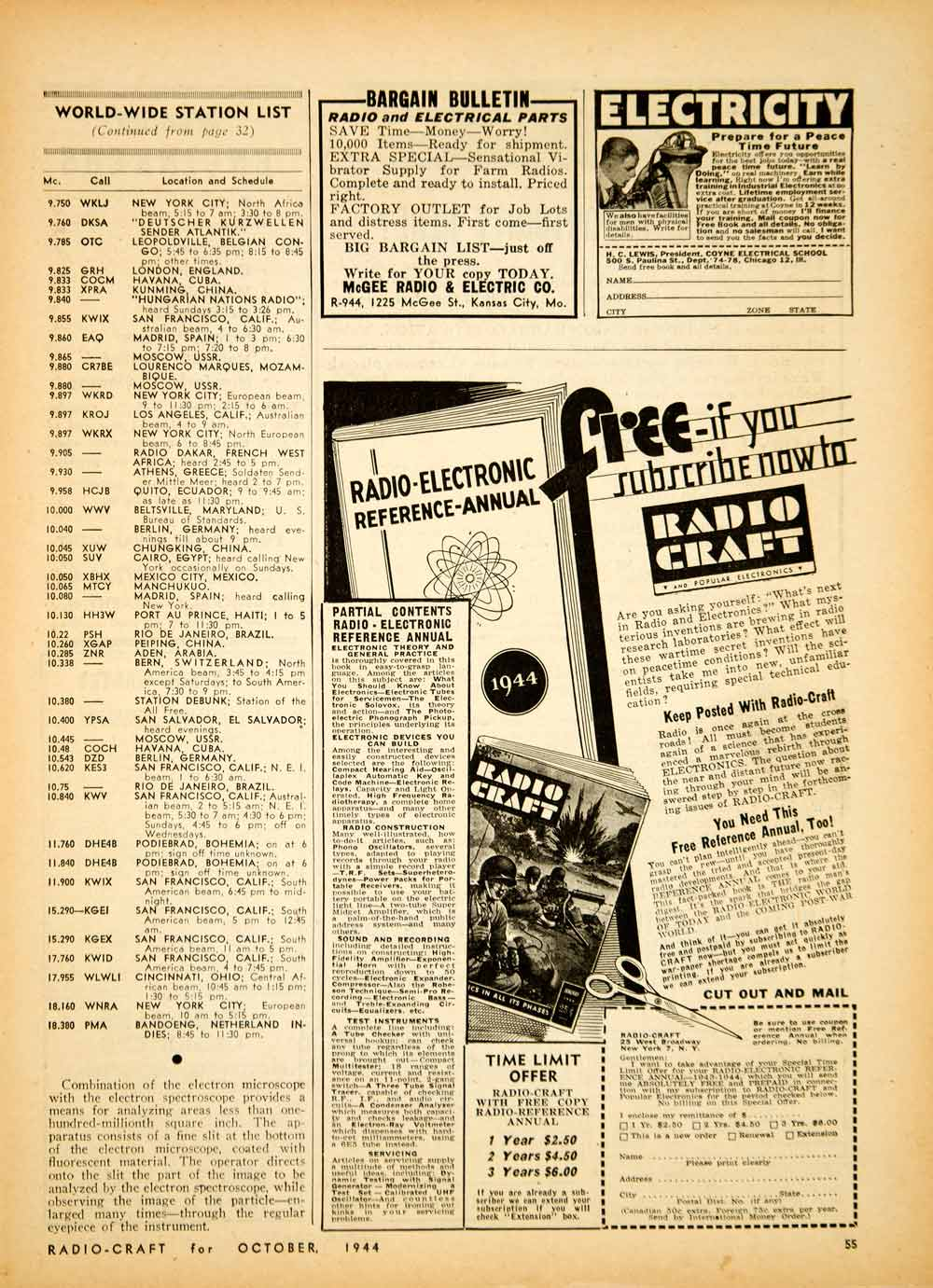 1944 Article Worldwide Station List Channel World War II Effort Cartoon TV  YRC2