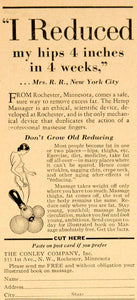 1934 Ad Vintage Hemp Massager Weight Reduction Fat Conley Company Rochester YRM1