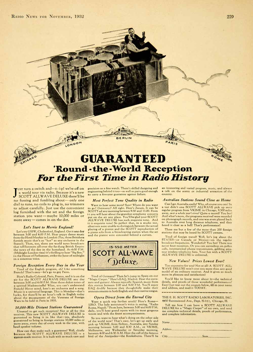 1932 Ad Scott All-Wave Deluxe Chicago London Berlin Paris Rome Station YRN1