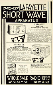 1931 Ad Lafayette Short Wave Apparatus Wholesale Radio 38 Vesey Street YRN1