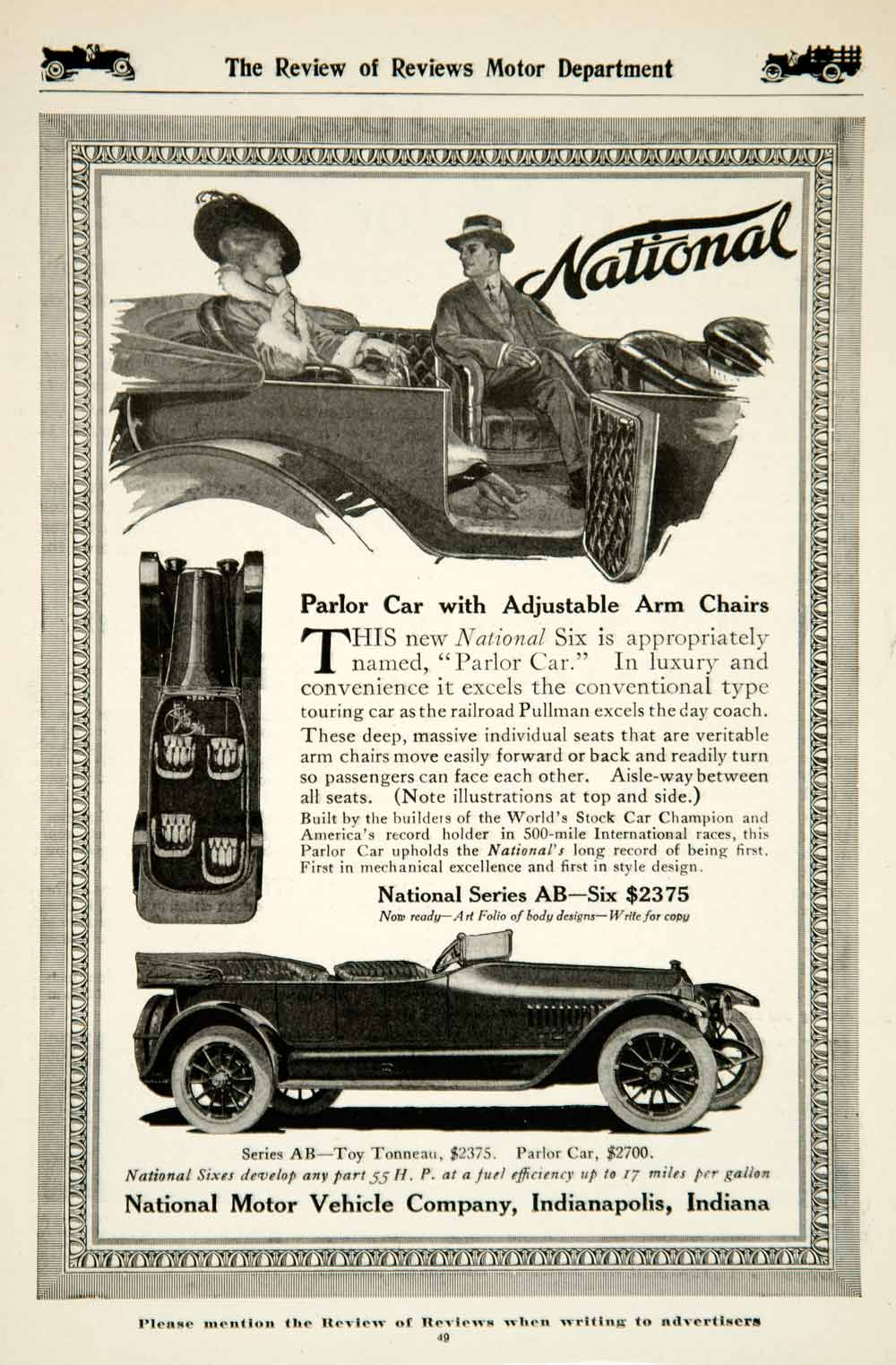 1915 Ad National Motor 4 Door Six Parlor Car Brass Era Automobile Classic YRR1