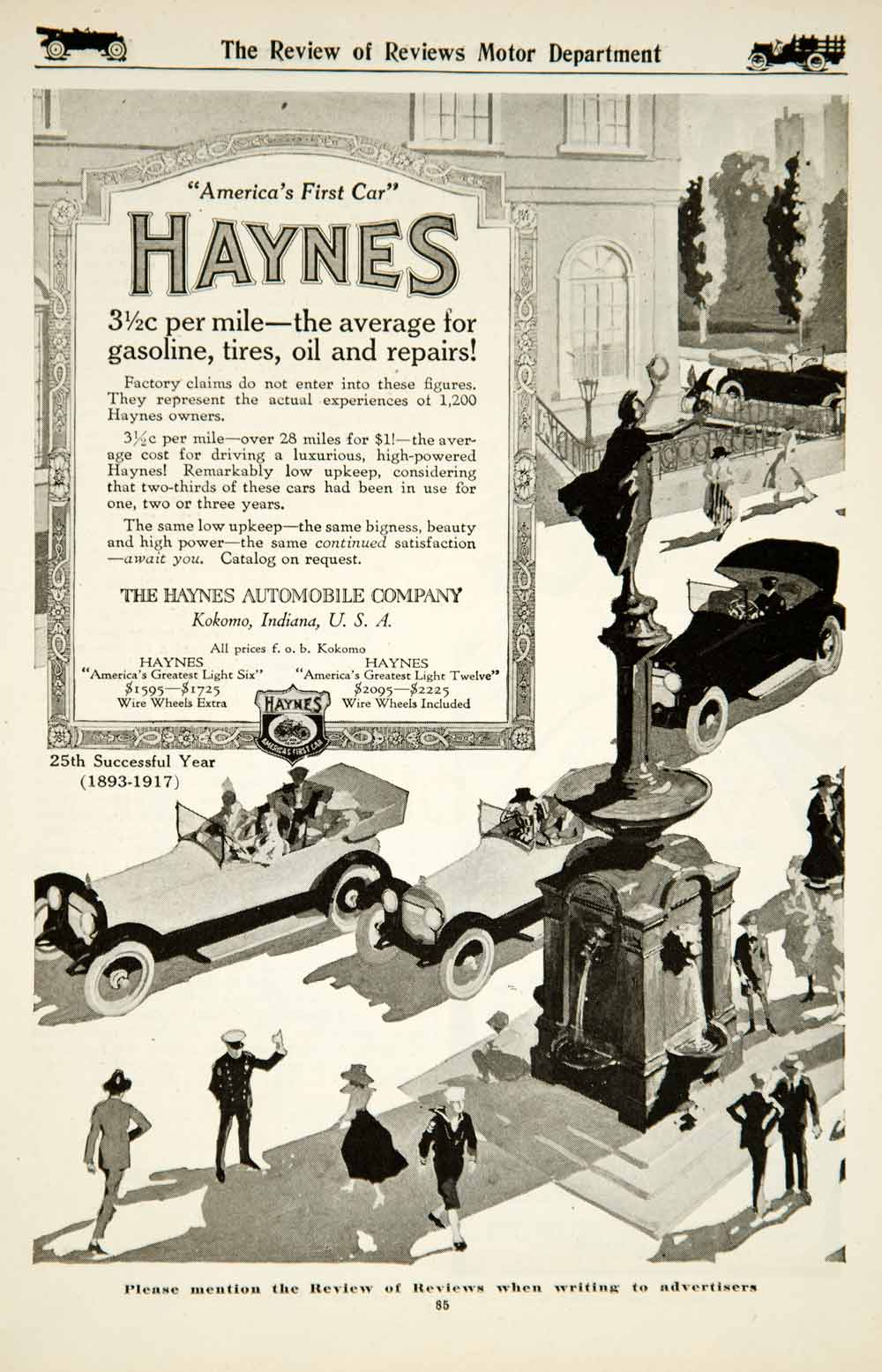 1917 Ad Haynes Automobile Light Six Twelve Car Brass Era Classic Collector YRR1