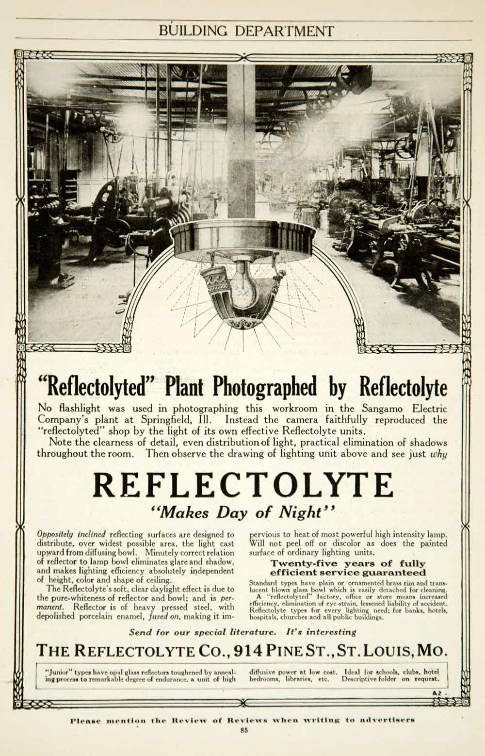 1917 Ad Reflectolyte Lighting Sangamo Electric Plant Factory Springfield IL YRR1