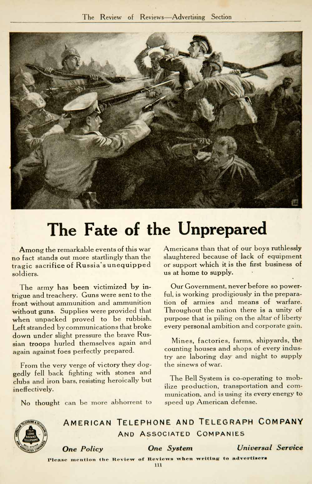 1917 Ad American Telephone & Telegraph AT&T Bell System World War I Soldier YRR1
