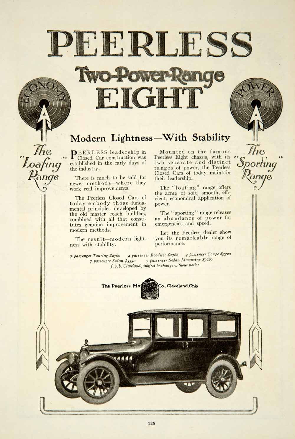 1919 Ad Peerless Motor Car Two-Power Range Eight Automobile Brass Era Auto YRR1
