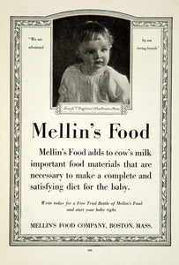 1919 Ad Mellin's Baby Food Lloyd T Bigelow Needham MA Infant Child Grocery YRR1